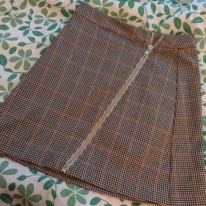 Plaid A-line skirt, with zipper detail!